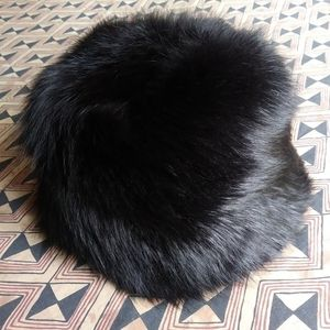 Vintage Thick Tall Black Real Fur Hat Like New